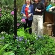 Julie Moir Messervy and Jana Bryan preparing for the Boston Flower Show